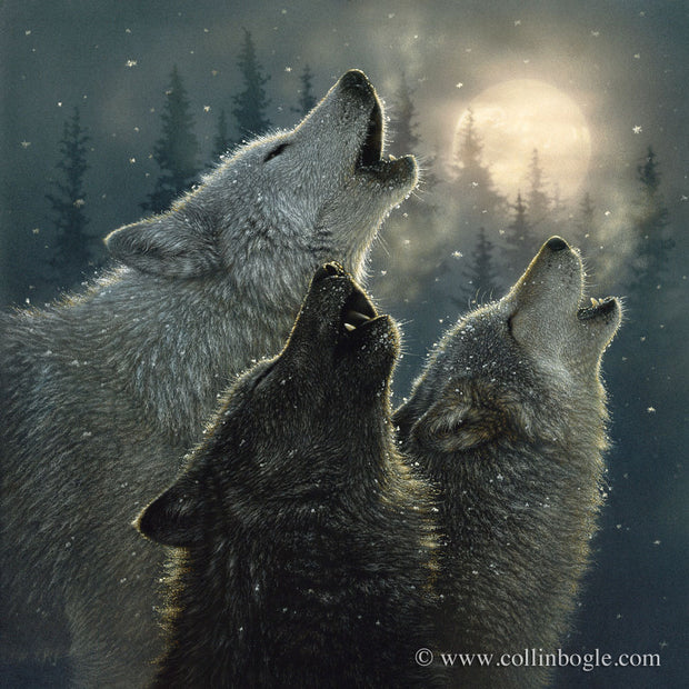 Three wolves howling at a full moon painting art print by Collin Bogle.