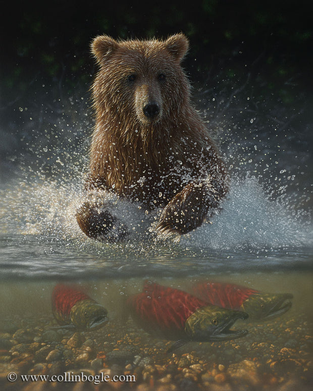 Brown bears fishing painting art print by Collin Bogle.