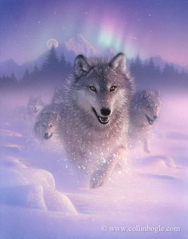 Running wolves with northern lights painting art print by Collin Bogle.