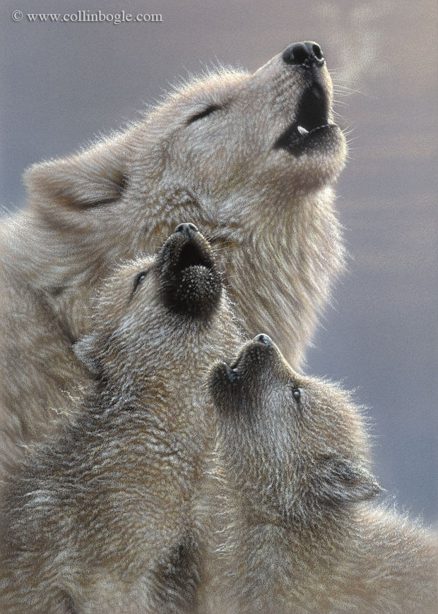 Wolf mother and pups howling painting art print by Collin Bogle.