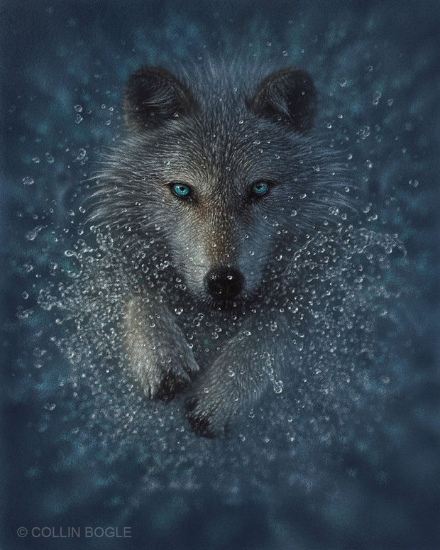 Wolf Splash Original Painting