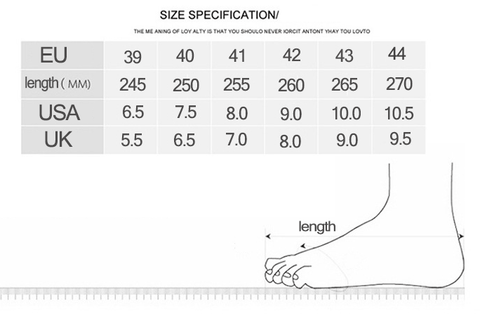 We highly recommend you measure your foot length before ordering in order to make the right choice.  Size Chart for Reference: