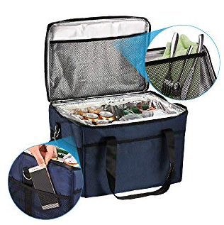 5 DIFFERENTS SIZES AND LARGE CAPACITY This insulated bag features 4 compartments to provide enough storage space: spacious main compartment with a interior mesh pocket, open-top front pocket for easy access, two side pockets to keep items visible. Multiple net pocket, you can put other accessories,5 sizes are available to choose: 10L, 18L, 28L, 37L, 47L,giving you more comfort and practicality meet your different needs .