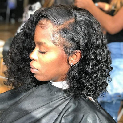 12inches Deep Wave Full Lace Wig Pre Bleached Knots