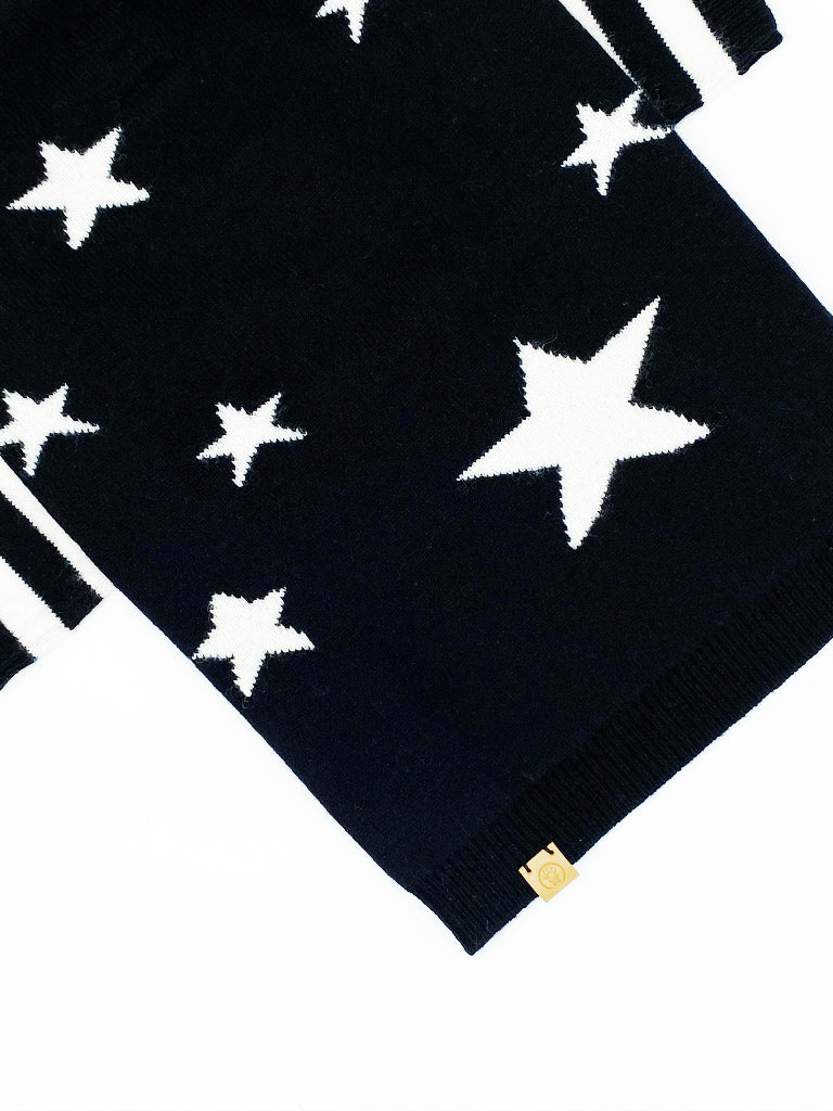 Star Cashmere-Blend Sweater, Black Combo