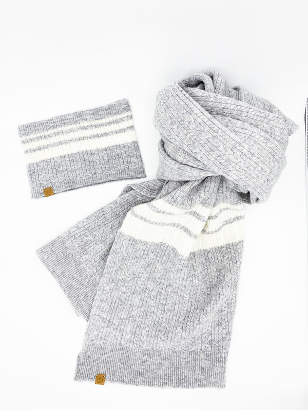 Baby Cable Cashmere Scarf, Heather Grey