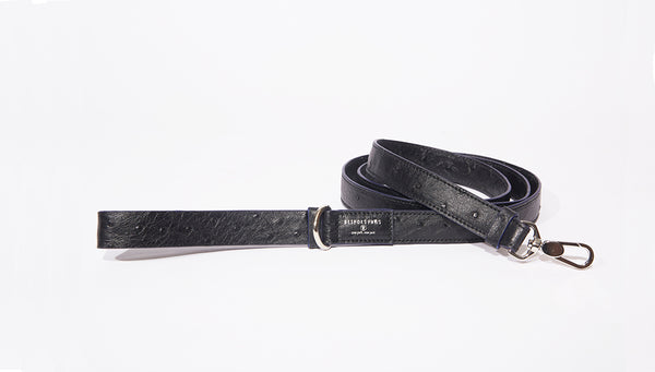 Dog Leash-Large, Black Ostrich