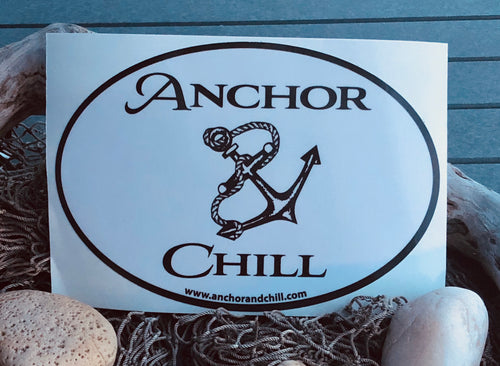 Anchor and Chill Oval Decal