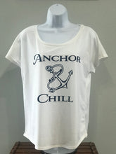 Load image into Gallery viewer, Ladies White with Navy Logo T-shirt