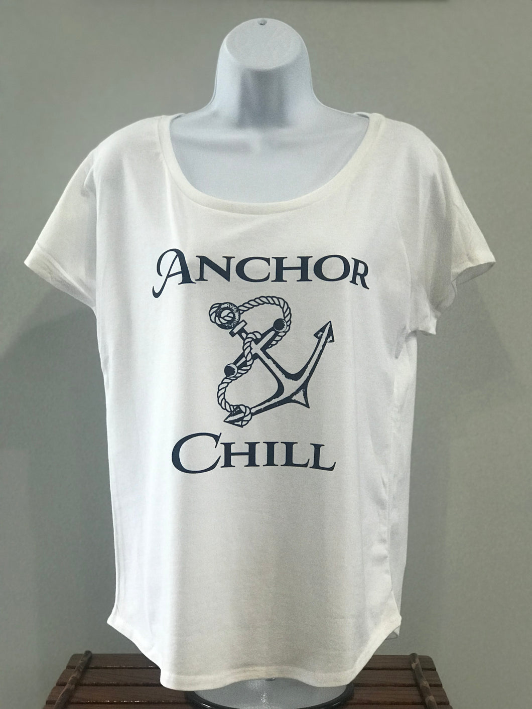 Ladies White with Navy Logo T-shirt