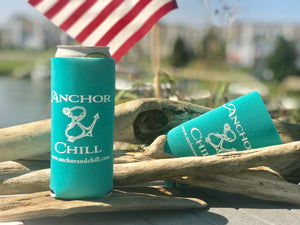 Anchor & Chill Slim Can Koozie