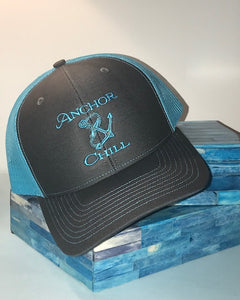 Anchor & Chill Neon Blue Trucker Hat