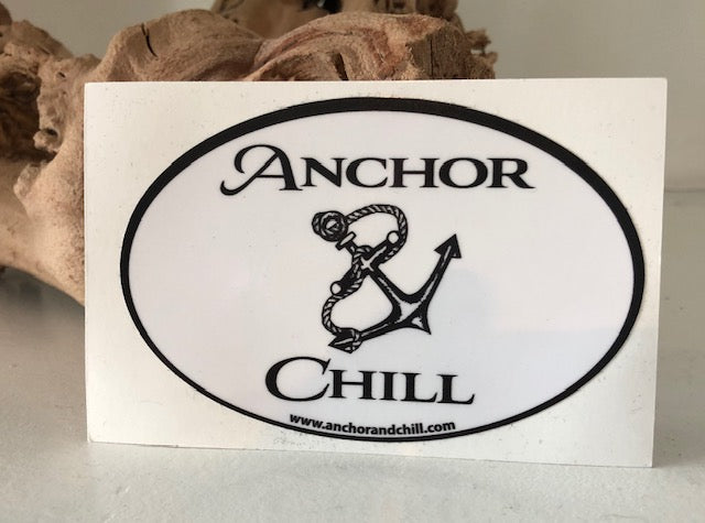 Anchor and Chill Oval Decal Small