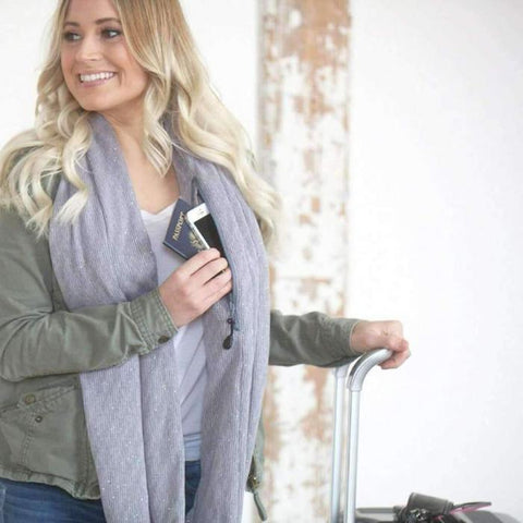 Best Infinity Grey Scarf with Hidden Zipper Pocket 2019