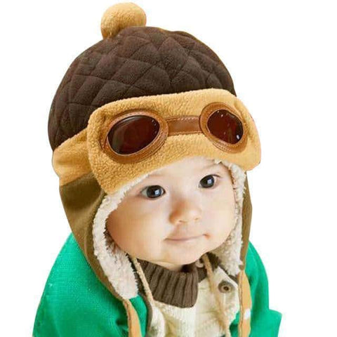 Hapyyness Brown Cute Pilot Beanie Winter Caps®