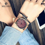 Hapyyness brown MEIBO Relojes Quartz Men Watches Casual Wooden Color Leather Strap Male Wristwatch Relogio Masculino Ladies Watch female watch