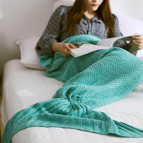 Hapyyness New 001 / 195x95cm BeddingOutlet Mermaid Throw Blanket Handmade Mermaid Tail Blanket for Adult Kid Multi Colors 3 Size Soft Crochet Mermaid Blanket