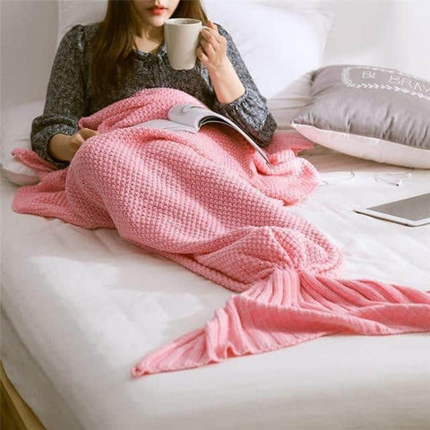 Hapyyness New 005 / 195x95cm BeddingOutlet Mermaid Throw Blanket Handmade Mermaid Tail Blanket for Adult Kid Multi Colors 3 Size Soft Crochet Mermaid Blanket