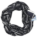 Best Convertible Infinity Printed Black White Scarf with Hidden Zipper Pocket 2019