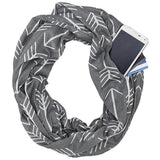 Best Convertible Infinity Printed Grey White Scarf with Hidden Zipper Pocket 2019
