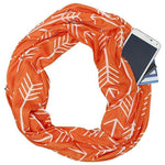 Best Convertible Infinity Printed Orange White Scarf with Hidden Zipper Pocket 2019