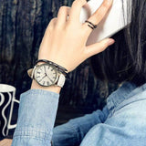 Hapyyness white MEIBO Relojes Quartz Men Watches Casual Wooden Color Leather Strap Male Wristwatch Relogio Masculino Ladies Watch female watch