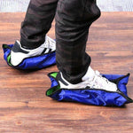 Automatic hands-free reusable shoe covers