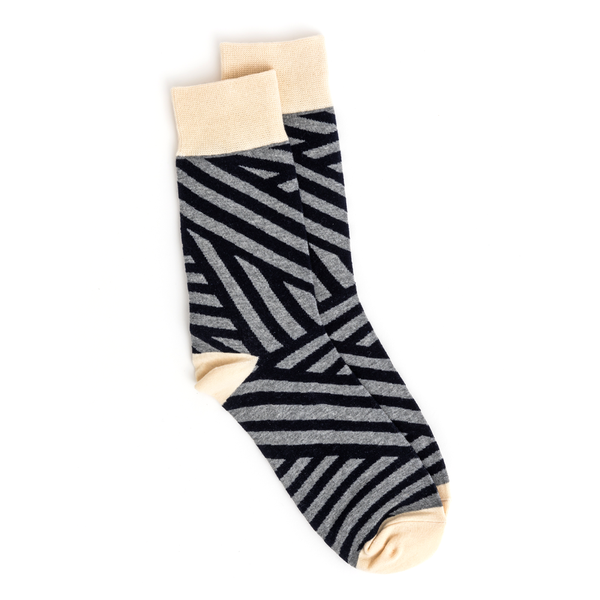 Stella + Gemma Socks Geometric Pattern Grey Black