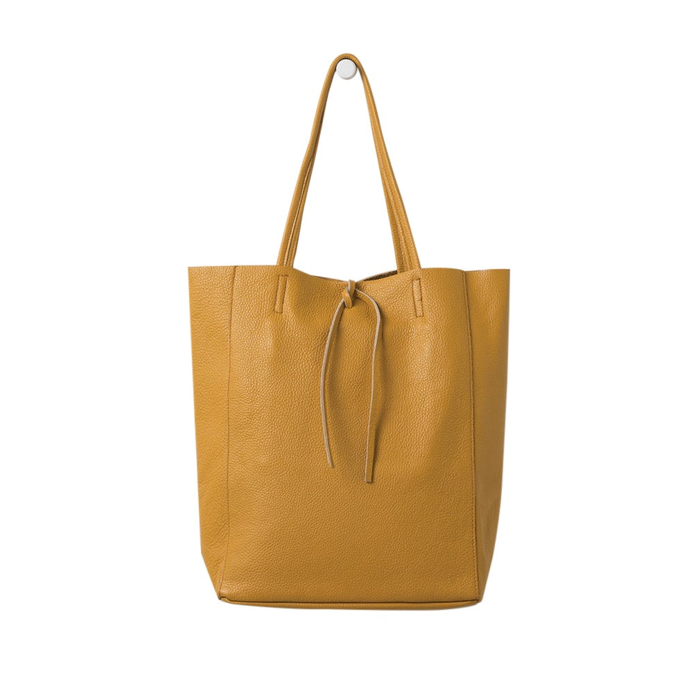 Citta Florence Leather Tote Bag Mustard