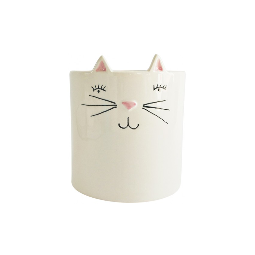 Cat Face Planter White