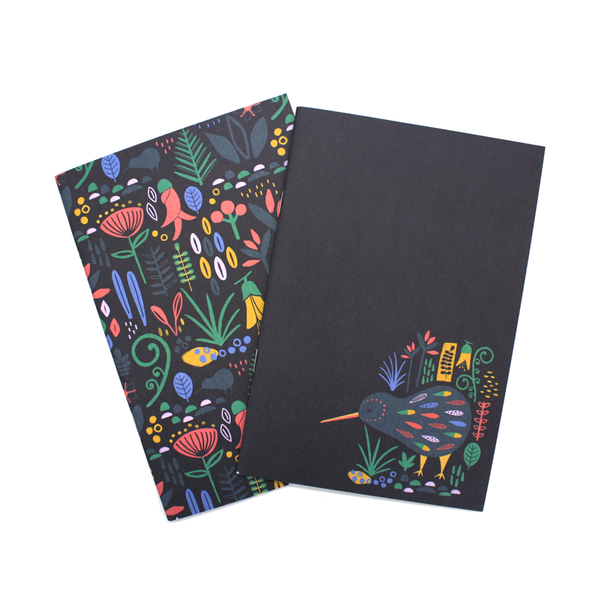 New Zealand A5 Notebook Set of 2 Floral Red
