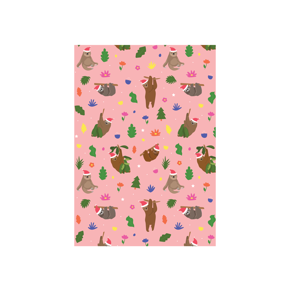 Iko Iko Christmas Card Animal Pattern Sloth Pink