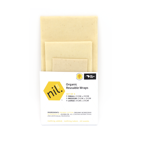 Nil Organic Beeswax Food Wraps Mixed Pack of 3 Natural