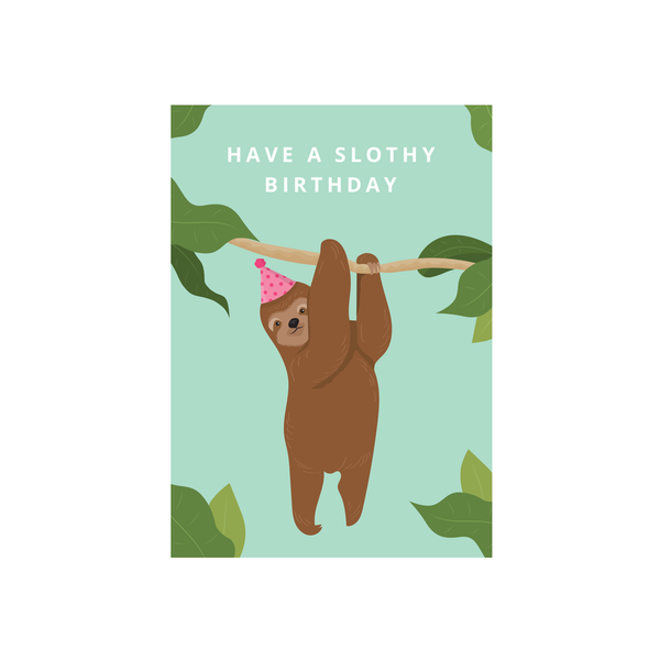 Iko Iko Cutie Animal Pun Card Birthday Sloth
