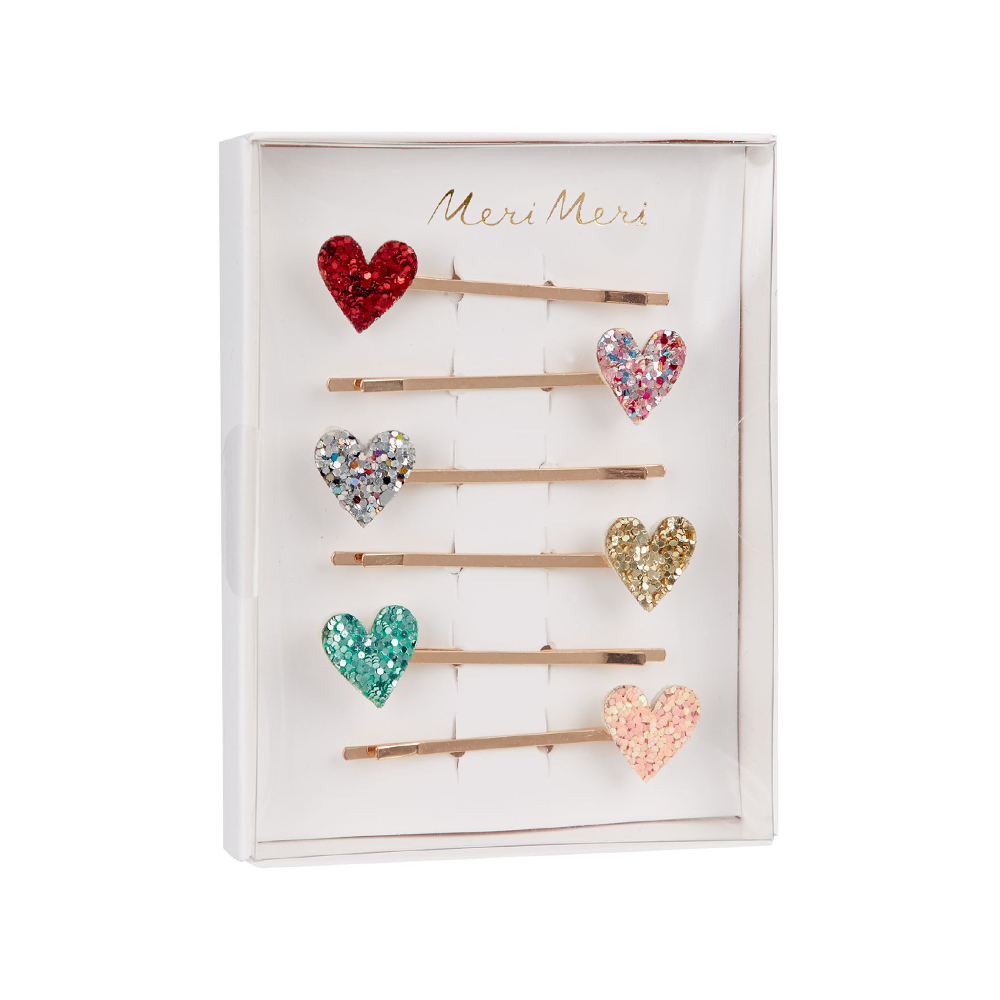 Meri Meri Glitter Heart Hair Pins Pack of 6