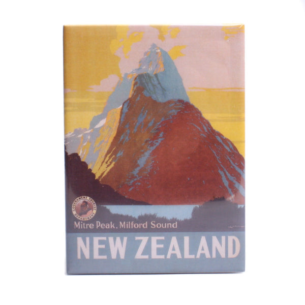 NZ Retro Fridge Magnet Mitre Peak
