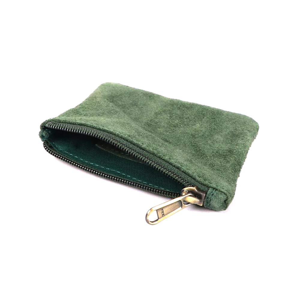 Suede Leather Coin Purse Green