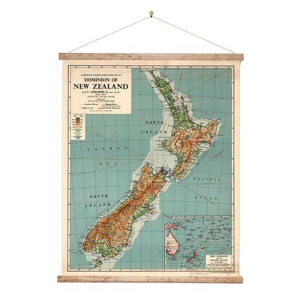 New Zealand Retro Wall Chart Dominion Map of NZ