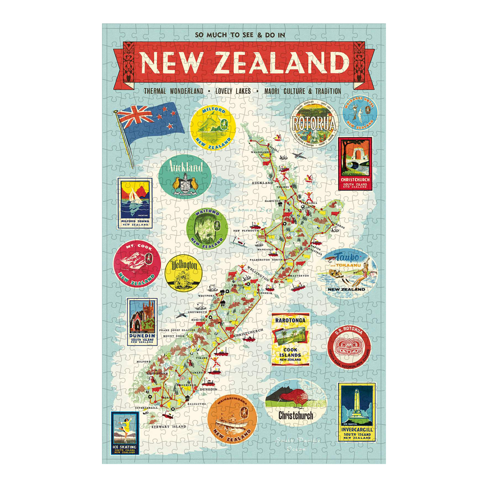 Cavallini 500 Piece Puzzle New Zealand Map