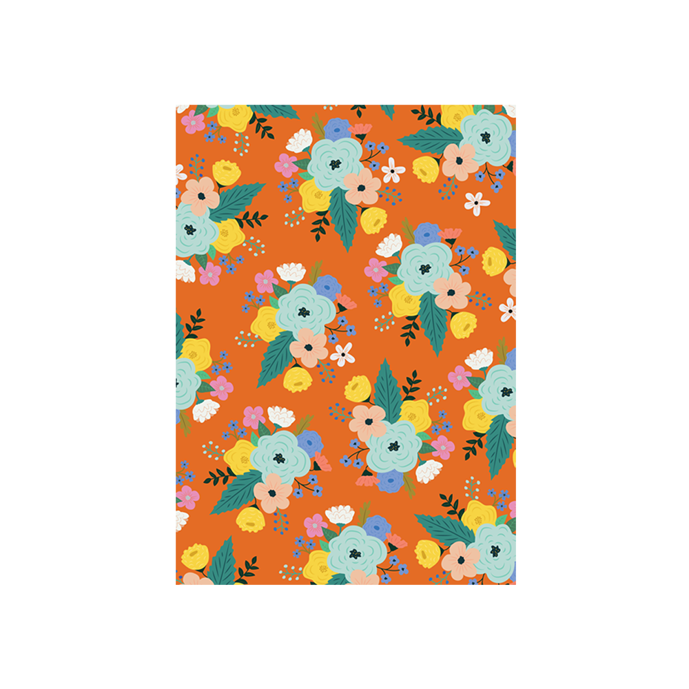 Iko Iko Floral Card Bright Bloom Orange with Mint Flower