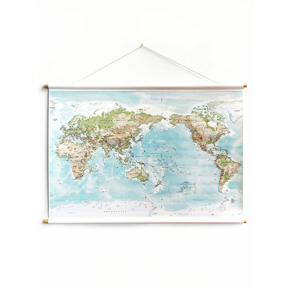 Milligram Canvas World Map Small