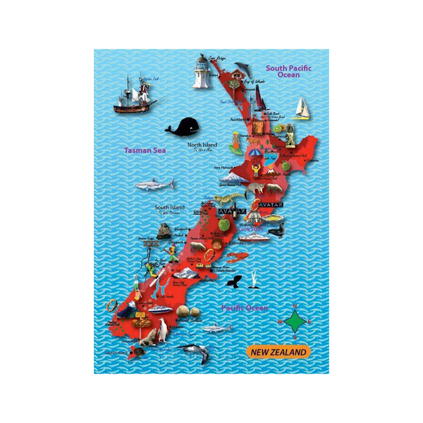 Mapedia 100 Piece Jigsaw Puzzle New Zealand