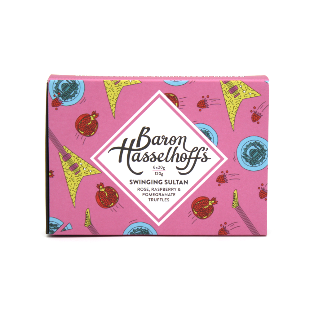 Baron Hasselhoff's Swinging Sultan Rose Raspberry Pomegranate Chocolate Truffles Box of 6