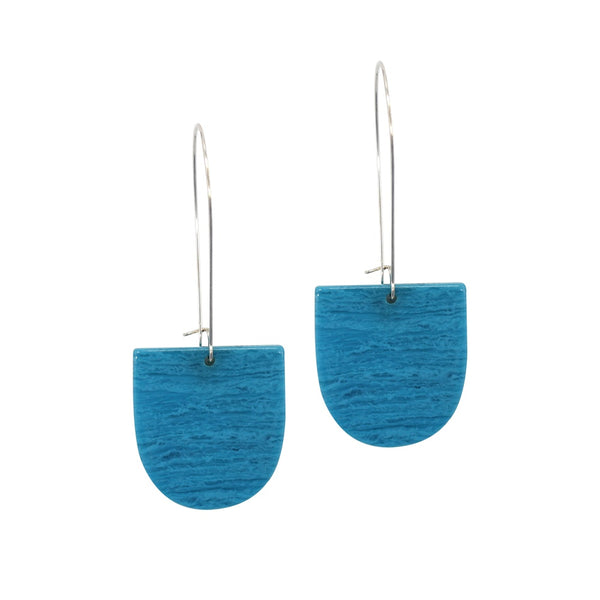 Penny Foggo Earrings Petal Shape Ocean Blue