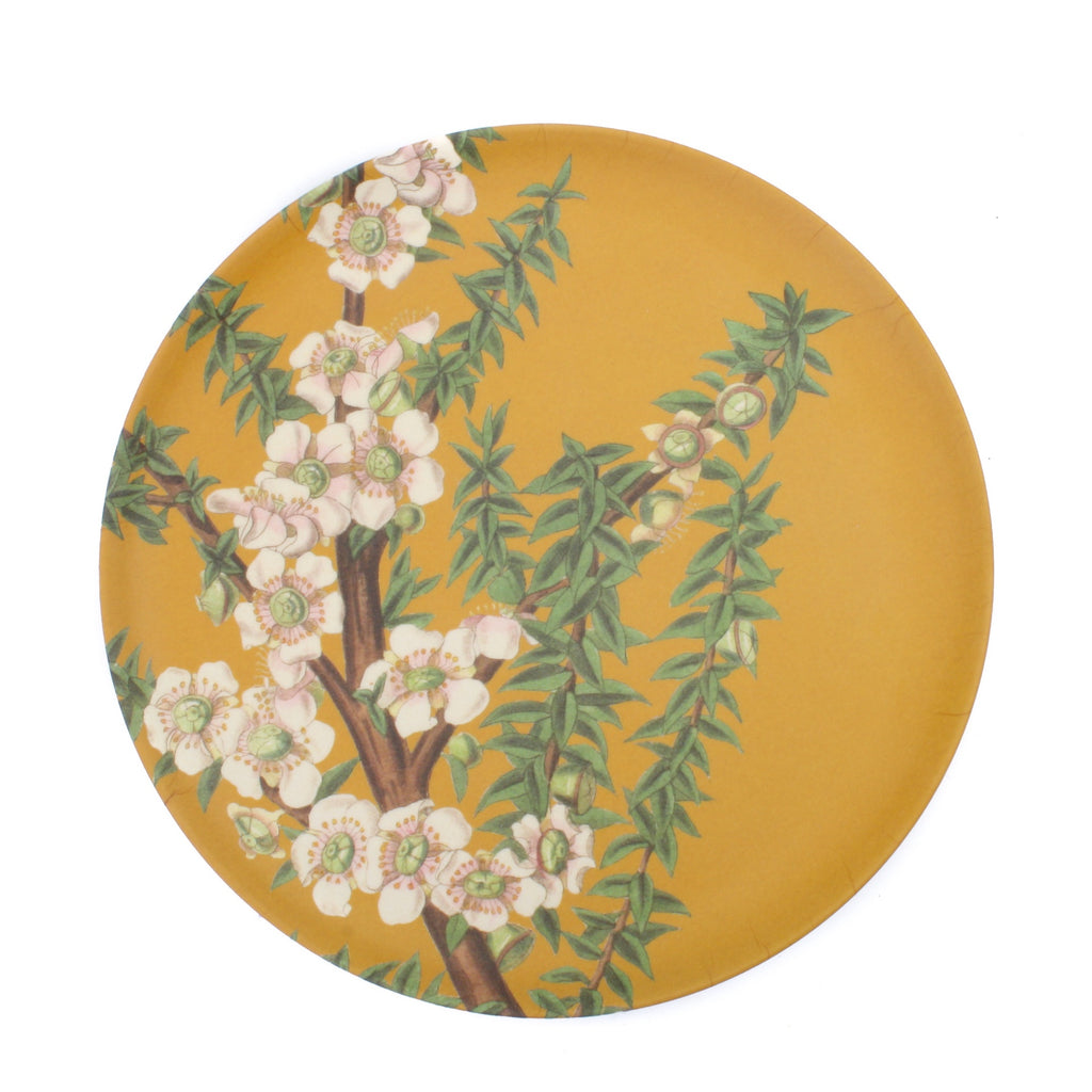 Native Flower Bamboo Plate White Manuka
