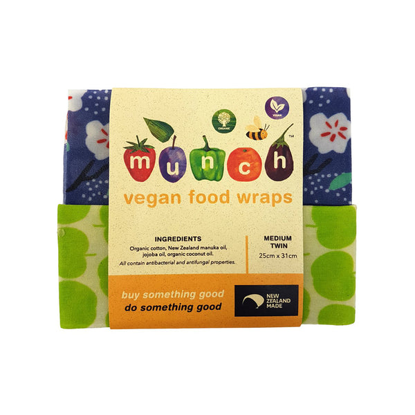 Munch Organic Beeswax Food Wraps Medium Blue Flowers