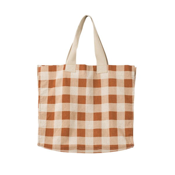 Citta Gingham Beach Bag Chestnut Almond