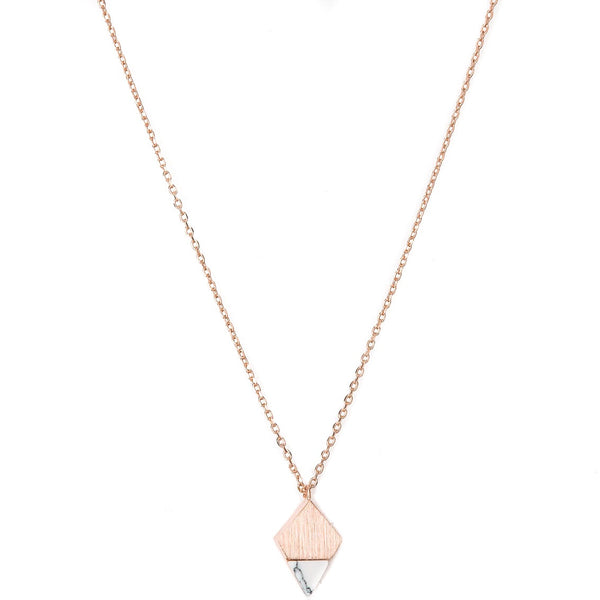Stella + Gemma Necklace Diamond White Jade Rose Gold