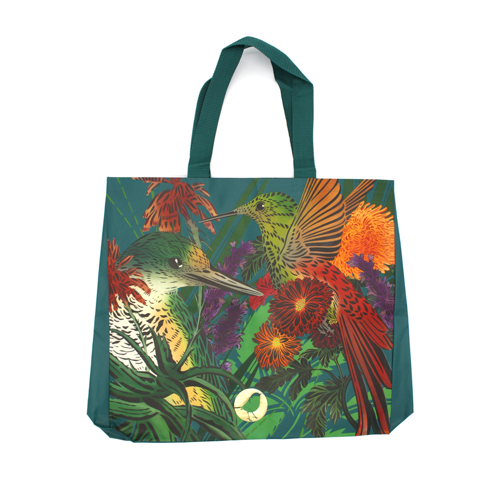 Flox Reusable Shopping Bag Birds and Flowers Turquoise Handle