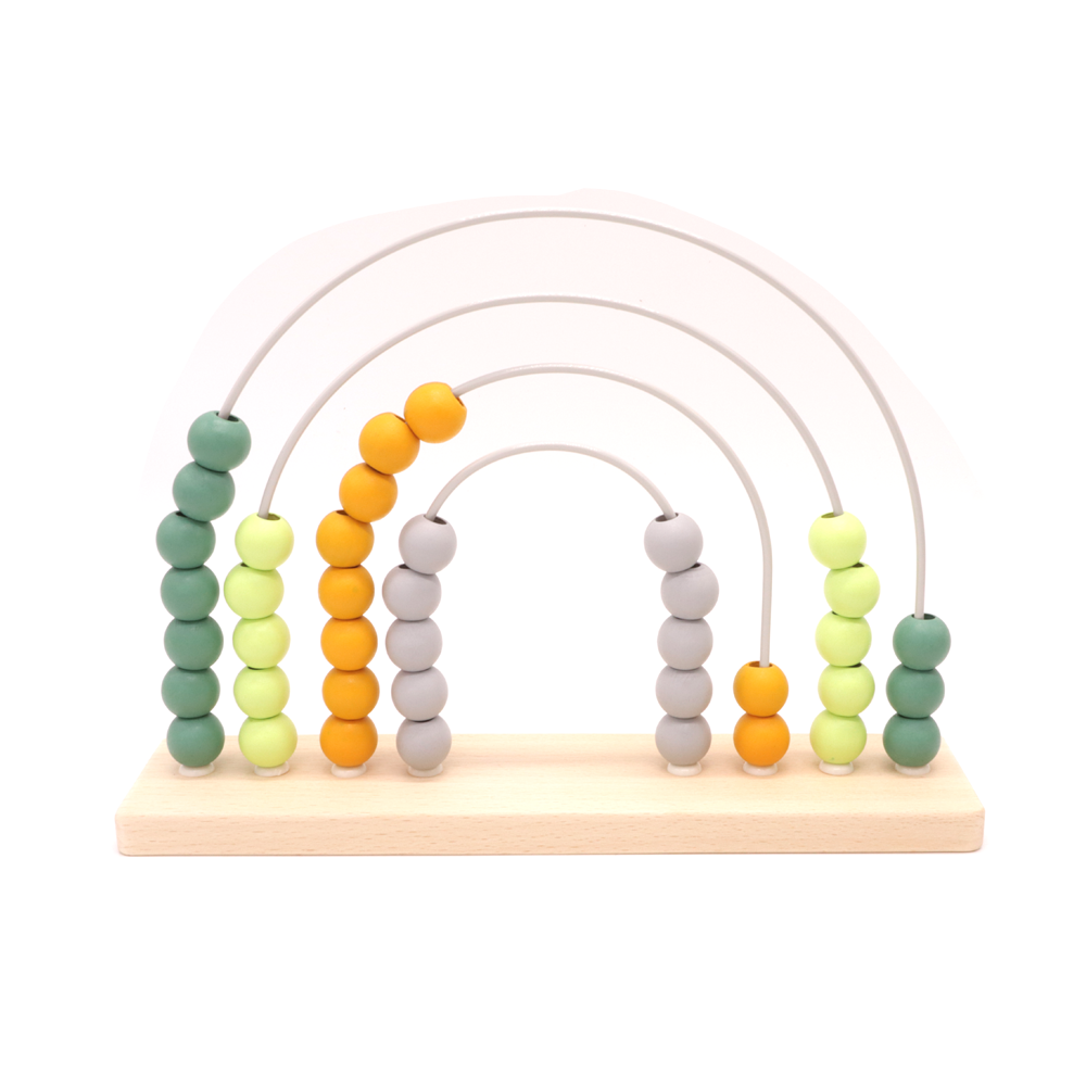 Wooden Abacus Rainbow Green and Yellow